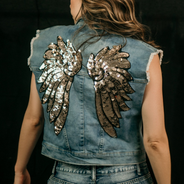 Gold and Silver Wings Demin Vest