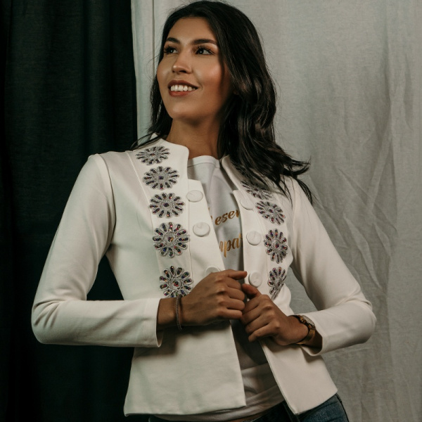 White Cotton Jacket Silver Flowers