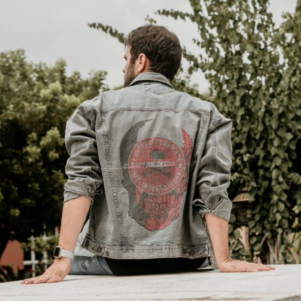 Red Skull Demin Jacket for Men