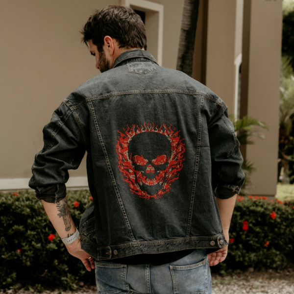 Skull on Fire Demin Jacket