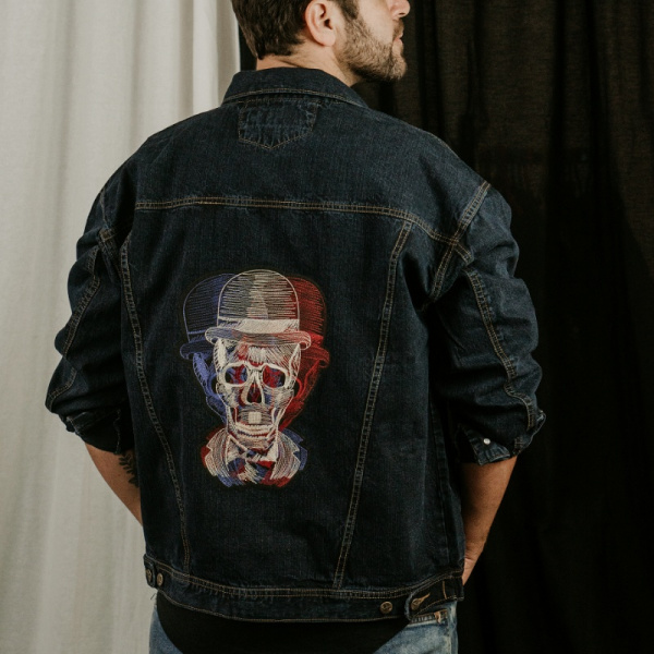 Doppler Effect Skull Demin Jacket for Men