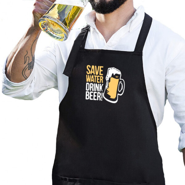 Mandil negro de gabardina SAVE WATER DRINK BEER