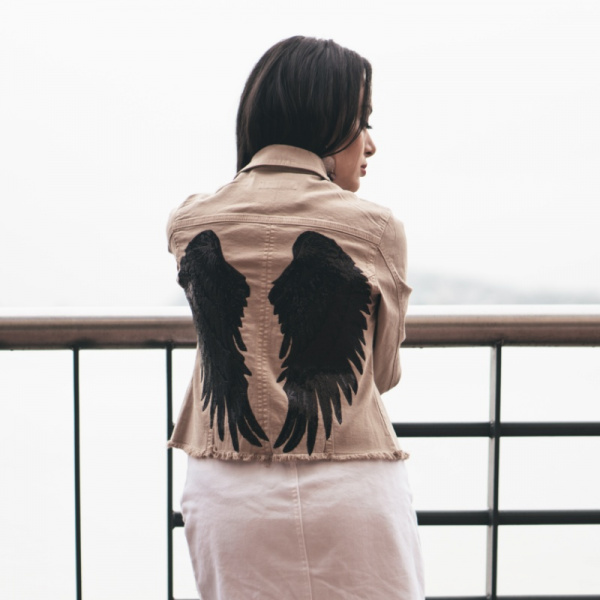 Black Wings Beige Jacket
