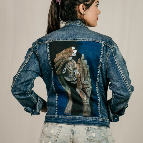 Guayasamín Inspired Hand Painted Demin Jacket