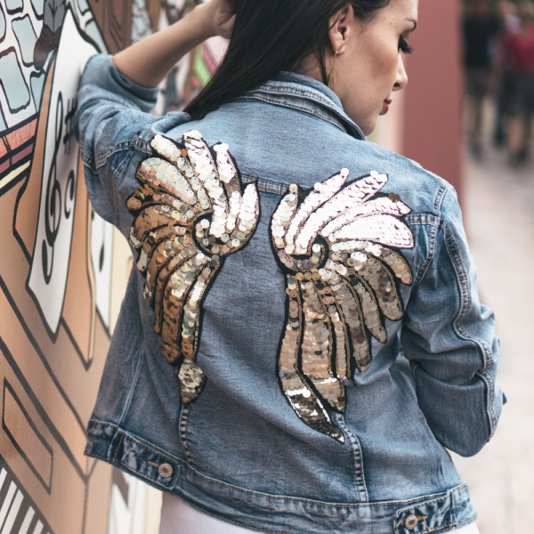 Gold and Silver Sequence Wings Demin Jacket