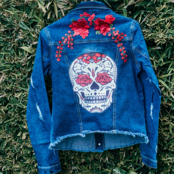 Red Flowerly and Skull Demin jacket